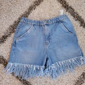 NWT Zara Trf high waisted frayed denim shorts 4